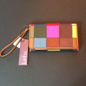 Kooba Colorful Patchwork Leather Wallet Wristlet
